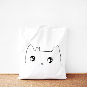 Cat princess cotton tote bag
