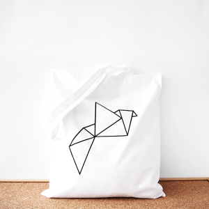 Origami cotton tote bag