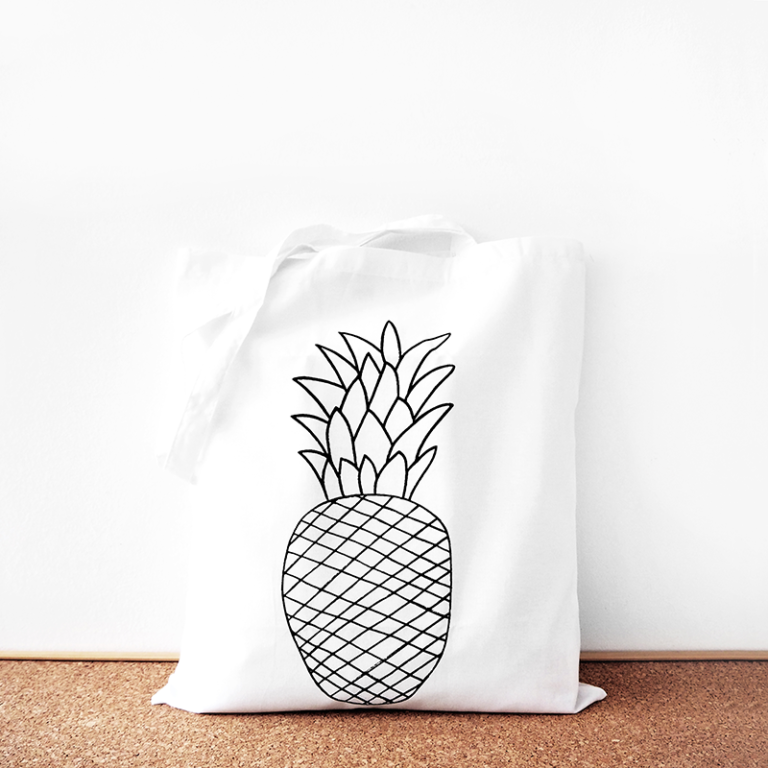 Pineapple cotton tote bag