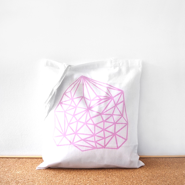 Pink geometric cotton tote bag