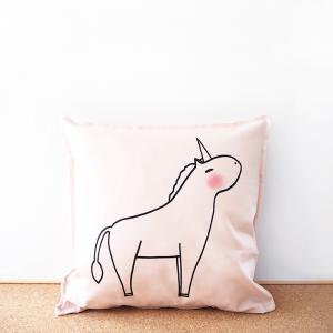 Pink unicorn cotton cushion cover