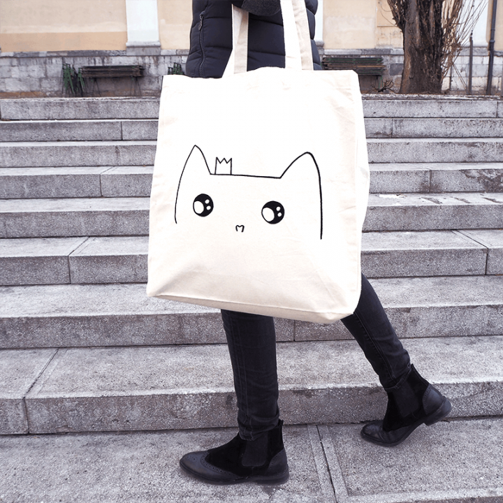 Cat princess organic cotton tote bag