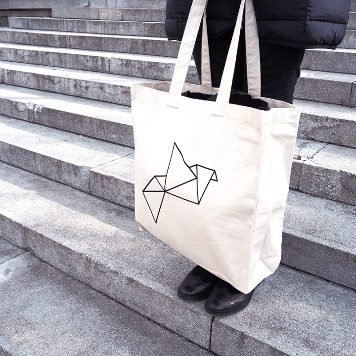 Origami organic cotton tote bag