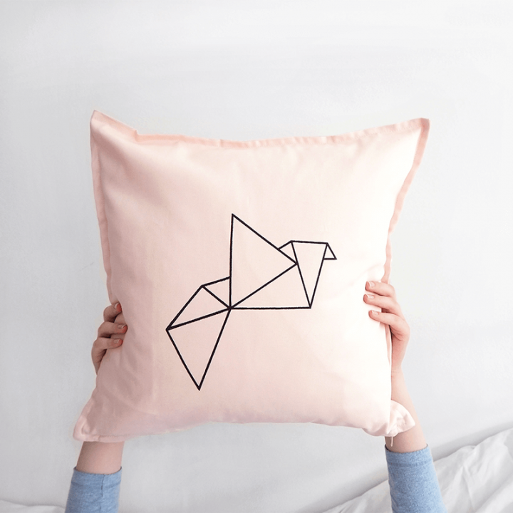Pink origami cotton cushion cover