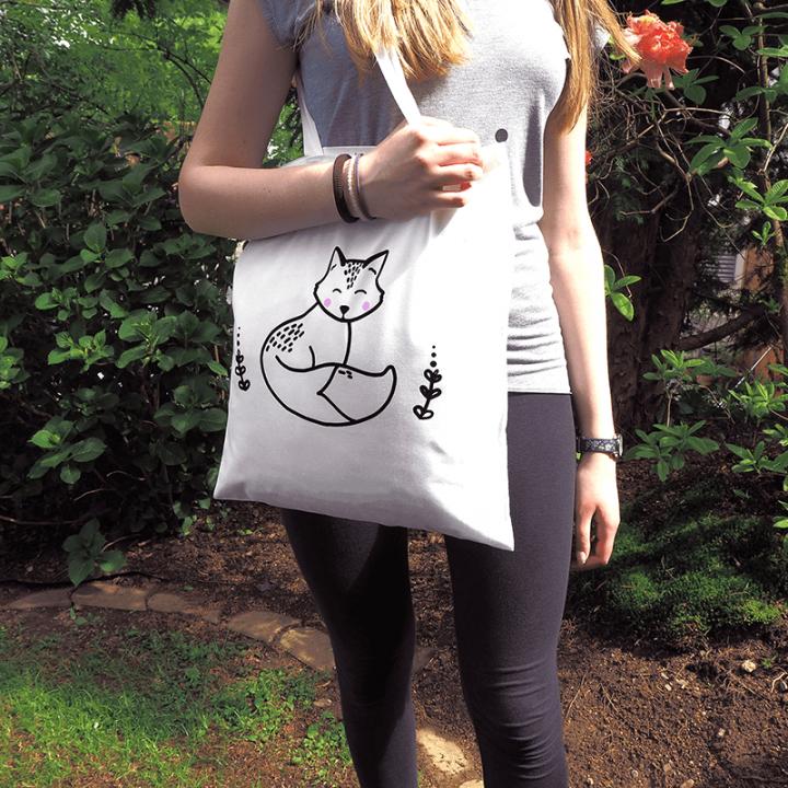Fox cotton tote bag