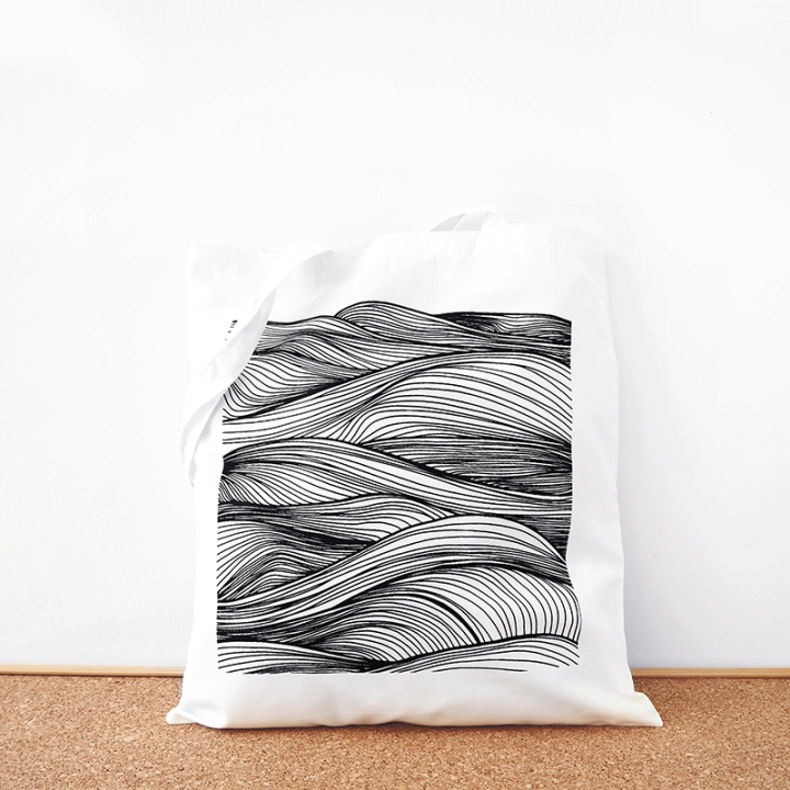 Wave cotton tote bag