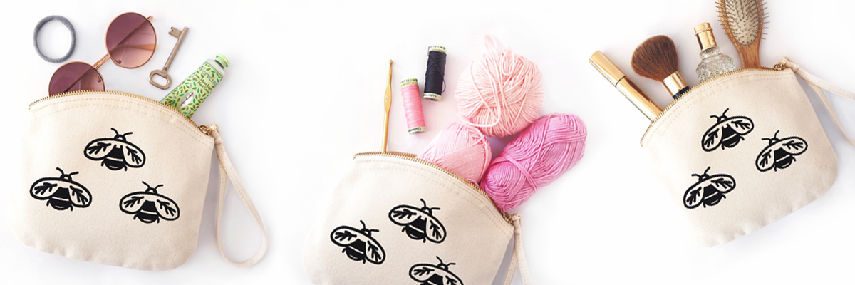 Bee organic cotton pouch