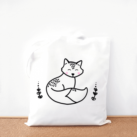 Fox cotton tote bag