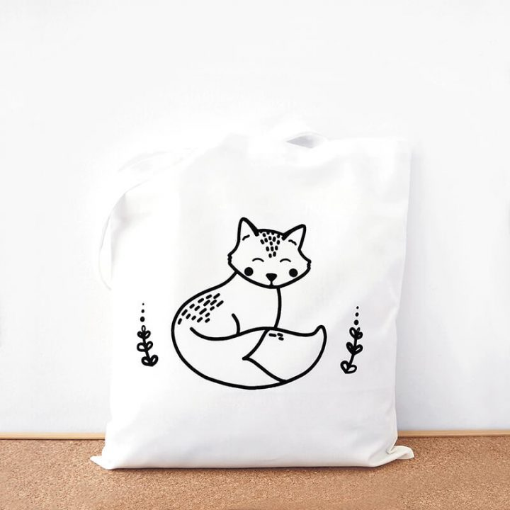 Black fox cotton tote bag