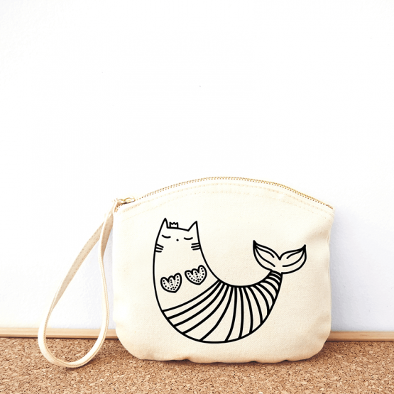 Sea kitty cotton pouch bag