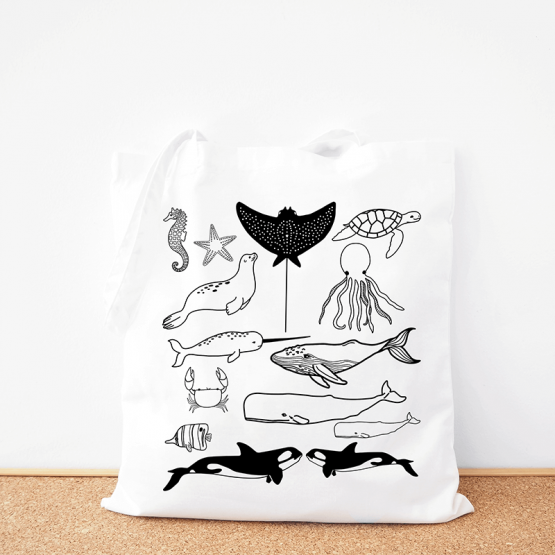 Sea Life cotton tote bag