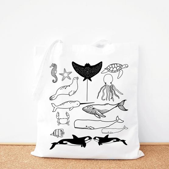 Sea Life cotton tote bag